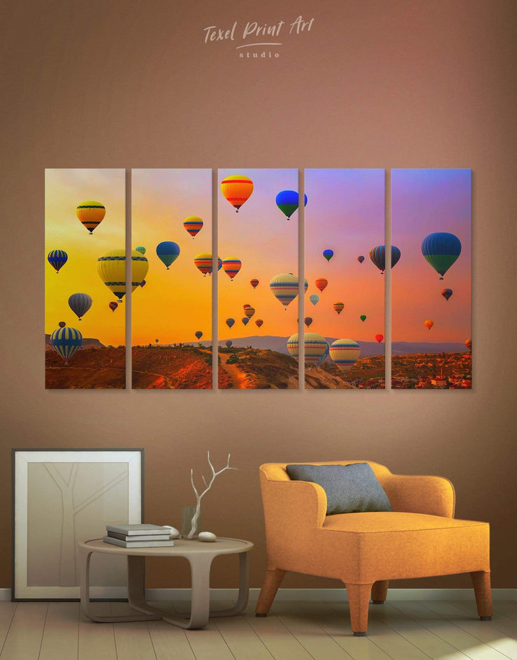 5 Panels Air Balloon Wall Art Canvas Print - 5 panels bedroom Dining room Hot air balloon inspirational wall art