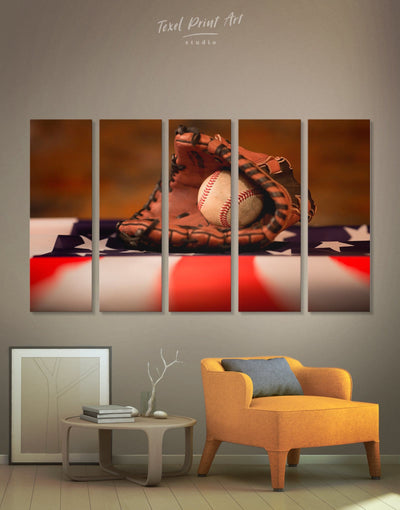 5 Panels American Baseball Wall Art Canvas Print - 5 panels bachelor pad baseball baseball wall art Living Room