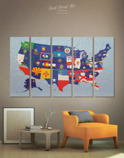 5 Panels American Flags Map Wall Art Canvas Print