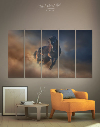 5 Panels Animal Horse Wall Art Canvas Print - 5 panels Animal bedroom Farmhouse horse wall art