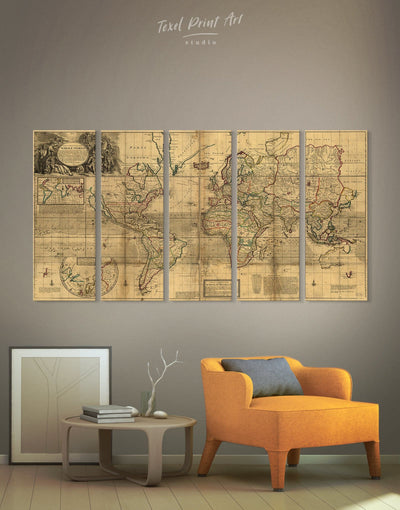 5 Panels Antique World Map Wall Art Canvas Print - 5 panels Antique world map canvas bedroom Brown Library