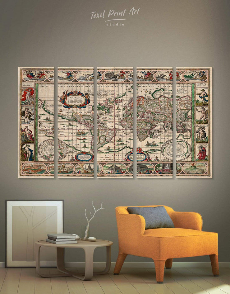 5 Panels Antique World Wall Art Canvas Print - 5 panels Antique Antique world map canvas bedroom Living Room