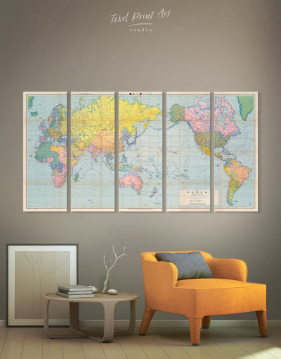 5 Panels Atlas World Map Wall Art Canvas Print - 5 panels bedroom map of the world labeled modern wall art Push pin travel map