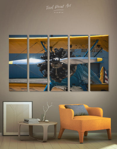 5 Panels Aviation Wall Art Canvas Print - 5 panels airplane wall art bachelor pad bedroom Hallway