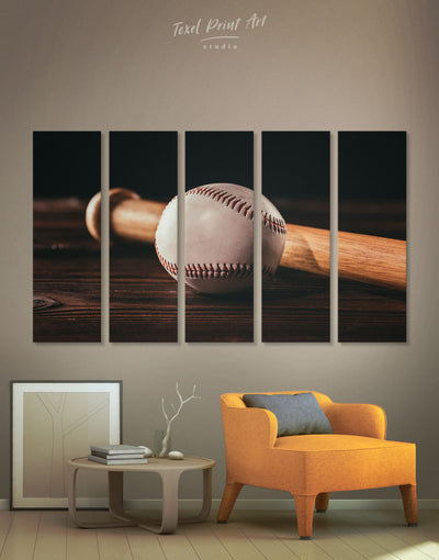 5 Panels Ball and Bat Baseball Wall Art Canvas Print - 5 panels bachelor pad baseball baseball wall art bedroom