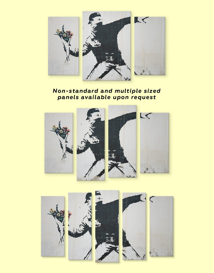 5 Panels Banksy Rage Flower Thrower Street Wall Art Canvas Print - 5 panels banksy wall art bedroom black and white wall art Contemporary