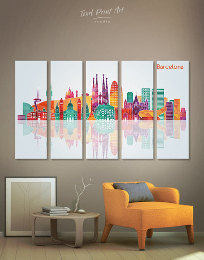 5 Panels Barcelona Skyline Canvas - Canvas Wall Art 5 panels bedroom City Skyline Wall Art Cityscape Dining room