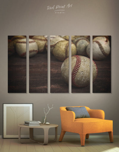 5 Panels Baseball Motivational Wall Art Canvas Print - 5 panels bachelor pad baseball wall art Brown game room wall art