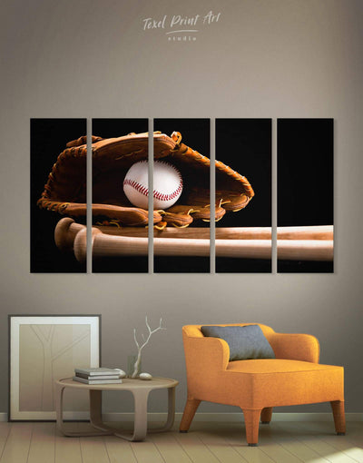 5 Panels Baseball Wall Art Canvas Print - 5 panels bachelor pad baseball baseball wall art bedroom