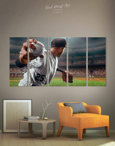5 Panels Baseball Wall Art Canvas Print - 5 panels bachelor pad baseball wall art bedroom inspirational wall art