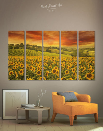 5 Panels Beautiful Sunflower Wall Art Canvas Print - 5 panels bedroom Hallway Kitchen landscape wall art