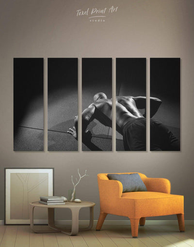 5 Panels Black and White Gym Wall Art Canvas Print - 5 panels bedroom black and white wall art Home Gym inspirational wall art