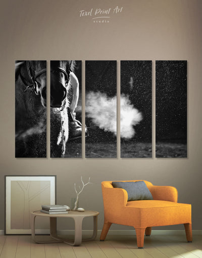5 Panels Black And White Horse Wall Art Canvas Print - 5 panels Animal Animals bedroom black and white wall art