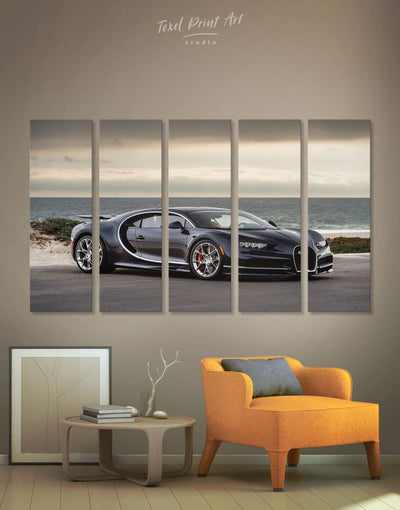 5 Panels Black Bugatti Sports Car Wall Art Canvas Print - 5 panels bachelor pad car garage wall art race car wall art