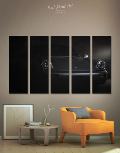 5 Panels Black Jackson Sportscar Wall Art Canvas Print - 5 panels bachelor pad black car garage wall art