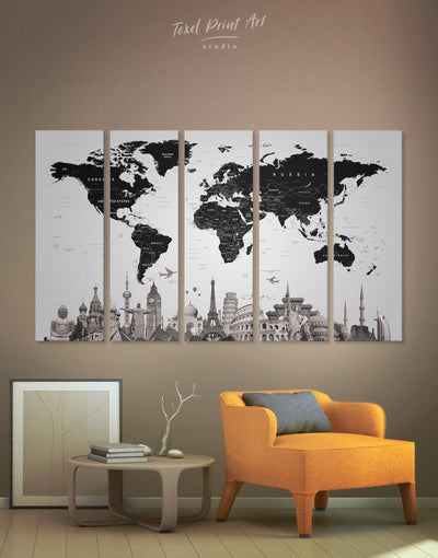 5 Panels Black World Map with Landmarks Wall Art Canvas Print - 5 panels Abstract Abstract map bedroom Black