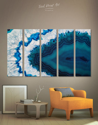 5 Panels Blue Geode Wall Art Canvas Print - 5 panels Abstract bedroom blue blue and white