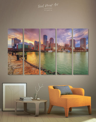 5 Panels Boston Cityscape Wall Art Canvas Print - 5 panels bedroom Boston Cityscape Dining room