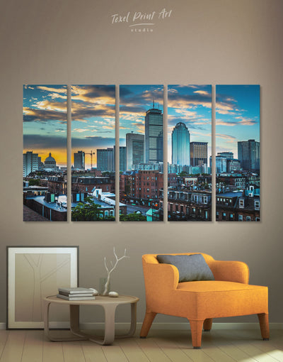 5 Panels Boston Skyline Wall Art Canvas Print - 5 panels Blue Boston City Skyline Wall Art Cityscape