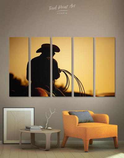5 Panels Brave Cowboy Wall Art Canvas Print - Canvas Wall Art 5 panels bedroom black Cowboy Hallway