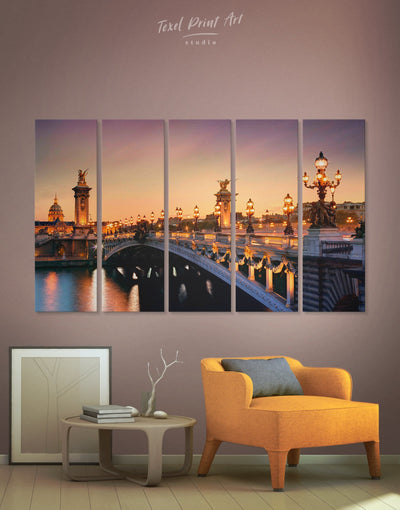 5 Panels Bridge in Paris Wall Art Canvas Print - 5 panels Bridge Dining room Hallway Living Room