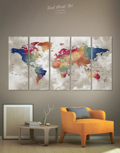 5 Panels Bright Watercolor World Map Canvas Print - 5 panels bedroom Blue brown contemporary wall art