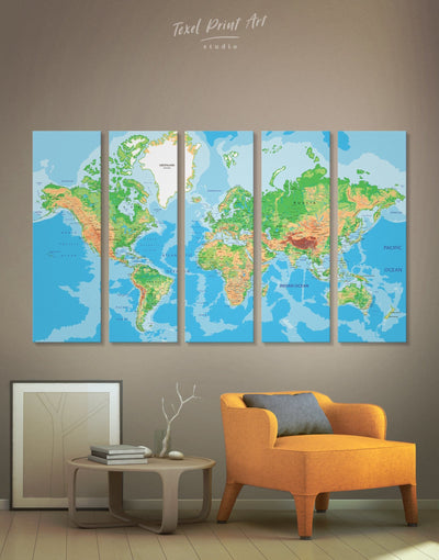 5 Panels Bright World Map Wall Art Canvas Print - 5 panels bedroom blue and green wall art Living Room Push pin travel map