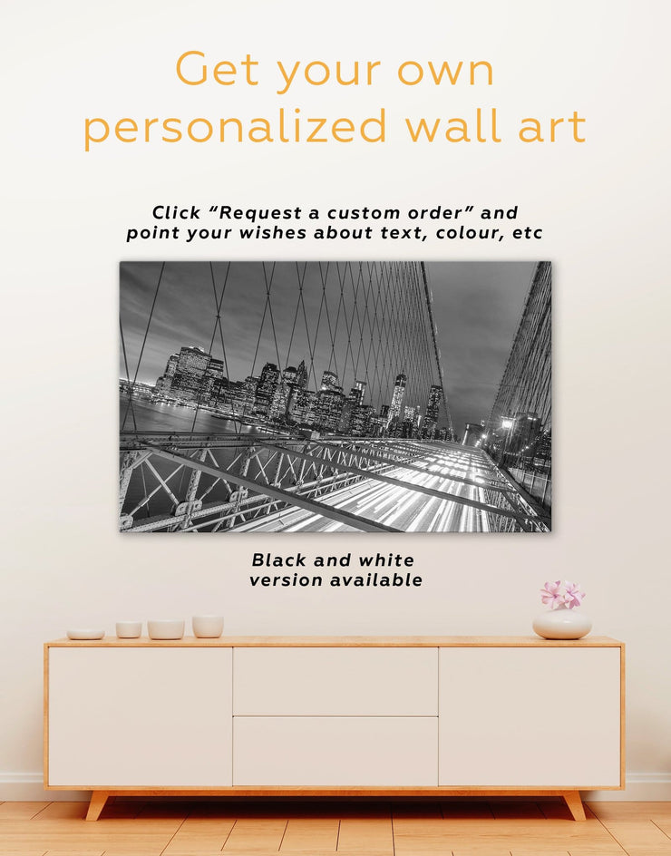 5 Panels Brooklyn Bridge Wall Art Canvas Print - 5 panels bedroom Bridge Brooklyn bridge wall art City Skyline Wall Art