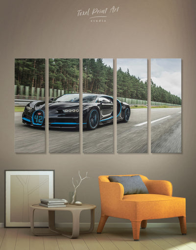5 Panels Bugatti Car Wall Art Canvas Print - 5 panels bachelor pad Car garage wall art Grey