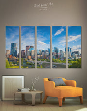 5 Panels Calgary Skyline Wall Art Canvas Print