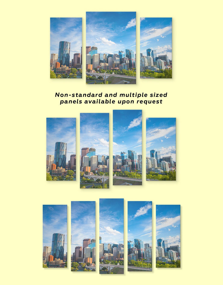 5 Panels Calgary Skyline Wall Art Canvas Print - 5 panels bedroom Blue blue and green wall art City Skyline Wall Art