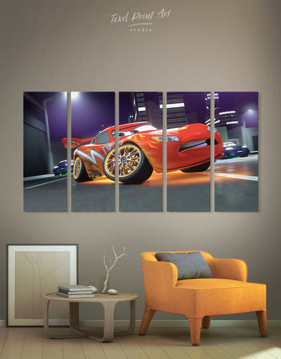 5 Panels Cars 2 McQueen Wall Art Canvas Print - Canvas Wall Art 5 panels bedroom car Hallway Living Room