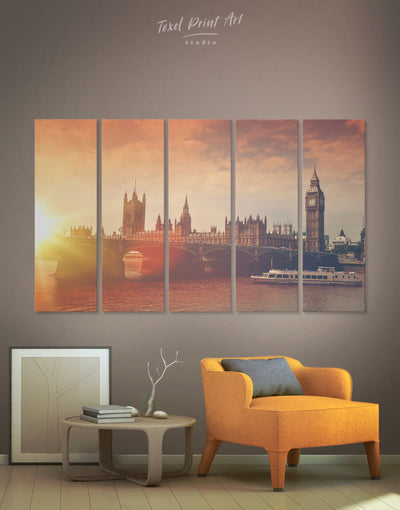 5 Panels Cityscape of London Wall Art Canvas Print - 5 panels bedroom City Skyline Wall Art Cityscape Living Room