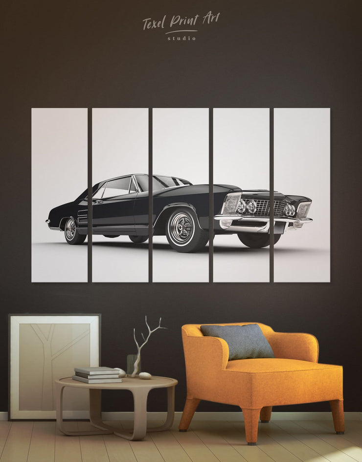 5 Panels Classic Car Wall Art Canvas Print - 5 panels bachelor pad bedroom Black black and white wall art