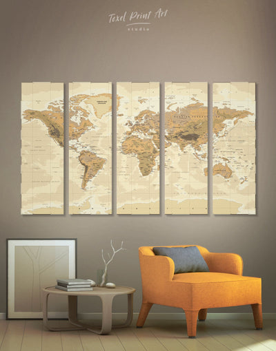5 Panels Classic World Map Wall Art Canvas Print - 5 panels bedroom Brown Living Room Office Wall Art