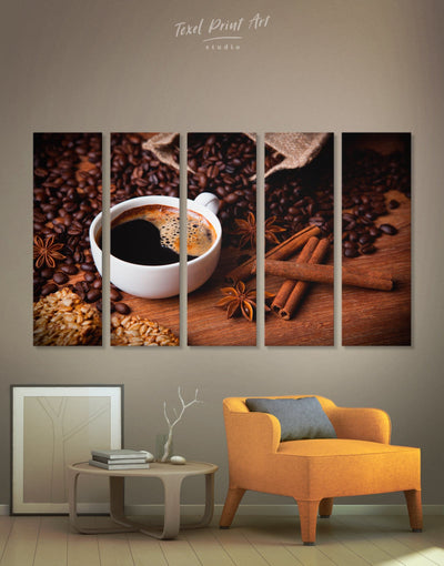5 Panels Coffee Aroma Wall Art Canvas Print - 5 panels Brown Dining room Kitchen