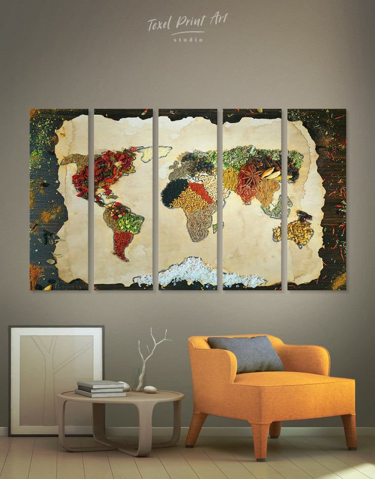 5 Panels Colorful Spice World Map Wall Art Canvas Print - 5 panels Abstract Abstract map abstract world map wall art bedroom