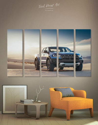 5 Panels Cool Baby Ford Raptor Wall Art Canvas Print - 5 panels bachelor pad car garage wall art wall art for men