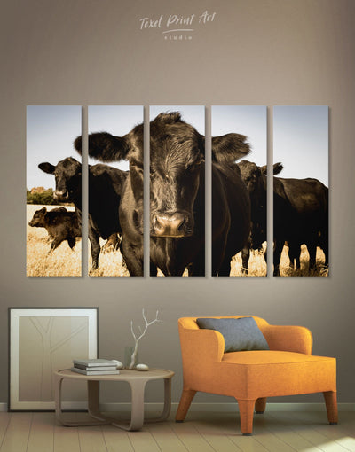 5 Panels Cow Farm Animal Wall Art Canvas Print - 5 panels Animal Animals Black cow canvas wall art