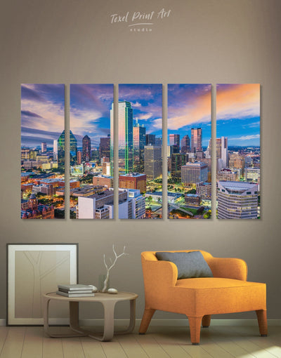 5 Panels Dallas Skyline Canvas Wall Art - Canvas Wall Art 5 panels bedroom City Skyline Wall Art Cityscape dallas wall art