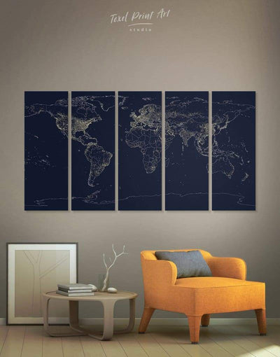 5 Panels Dark and Light Abstract Map Wall Art Canvas Print - 5 panels Abstract Abstract map bedroom Contemporary