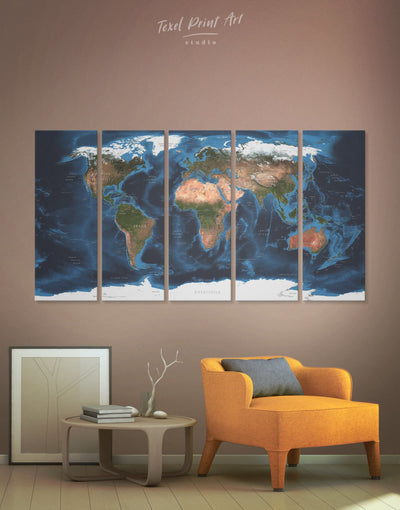 5 Panels Dark World Map Wall Art Canvas Print - 5 panels Abstract Abstract map Blue blue wall art for bedroom