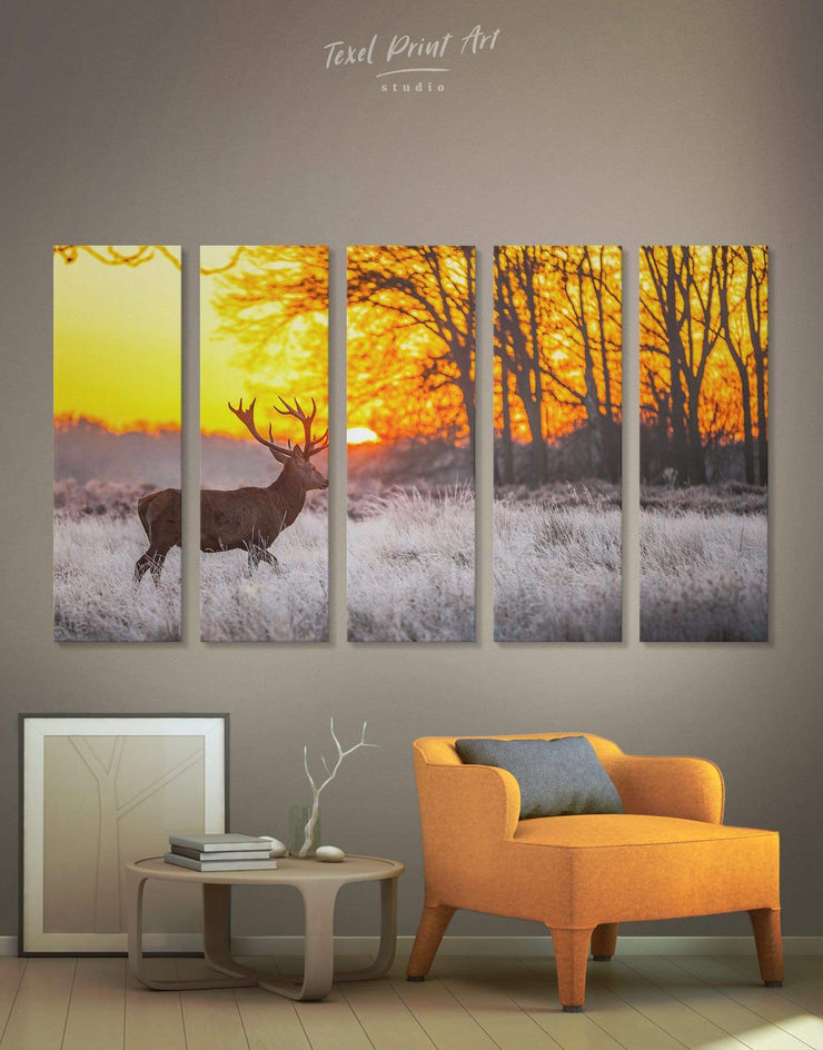 5 Panels Deer in Forest Wall Art Canvas Print - 5 panels Animal Animals deer wall art Hallway