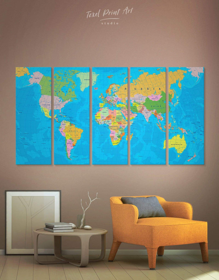 5 Panels Detailed Political Map Wall Art Canvas Print - 5 panels Blue blue wall art for bedroom Office Wall Art Push pin travel map
