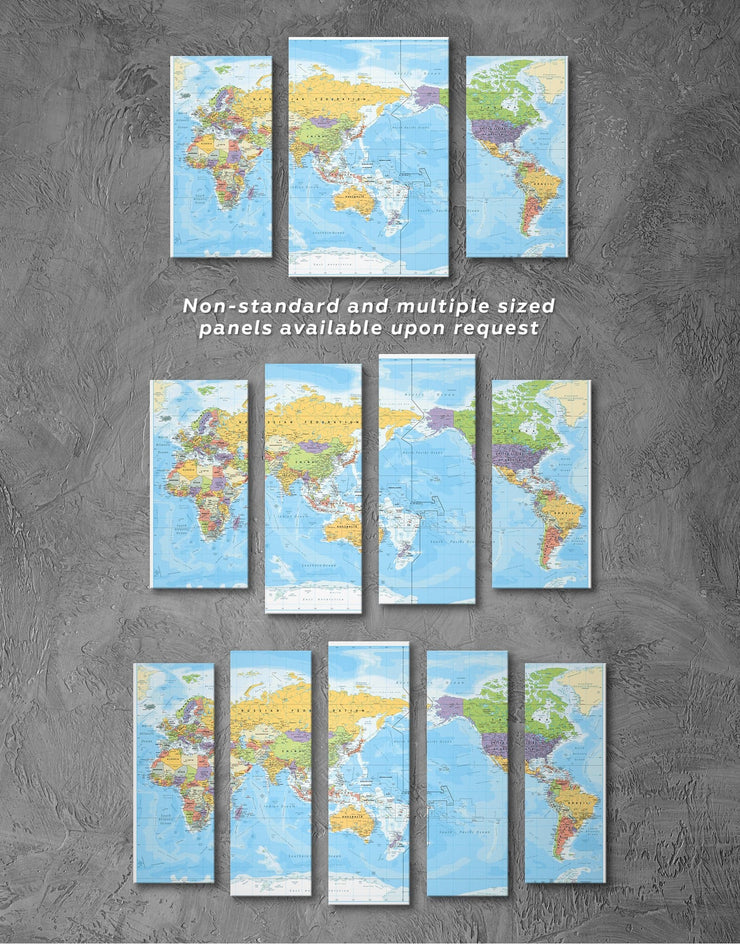 5 Panels Detailed World Map Wall Art Canvas Print - 5 panels bedroom Blue Blue Wall Art blue wall art for bedroom