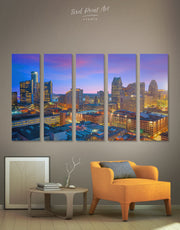 5 Panels Detroit Cityscape Wall Art Canvas Print