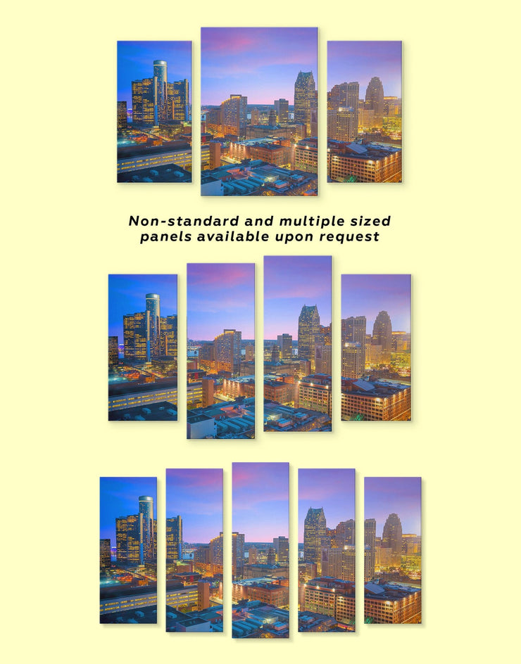 5 Panels Detroit Cityscape Wall Art Canvas Print - 5 panels bedroom City Skyline Wall Art Cityscape detroit wall art