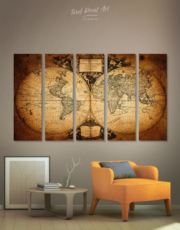 5 Panels Double Hemisphere Map Wall Art Canvas Print - 5 panels Antique world map canvas bedroom Brown double hemisphere world map