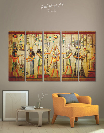 5 Panels Egypt Gods Wall Art Canvas Print - 5 panels Antique Brown Egyptian Hallway