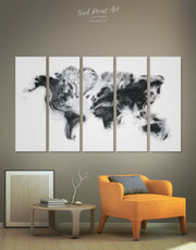 5 Panels  Extraordinary World Map  Wall Art Canvas Print